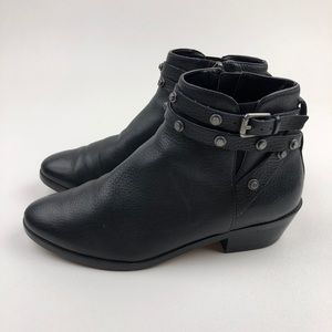 Halogen Ankle Boots Black Leather Zip up Buckle